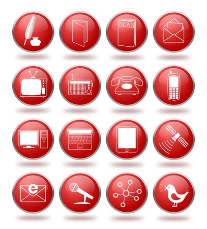set of communication icons in red spheres. From writing, telecommunication to internet and social networking Stock Vector - 10932229