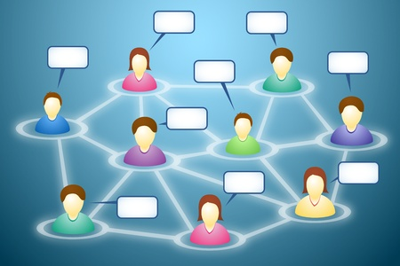 world thinking: Illustration of connected social network members with blank faces and text clouds