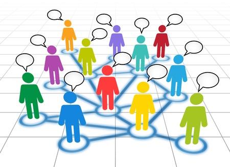 networking people: Representaci�n esquem�tica de un miembros de las redes sociales con las nubes de texto en blanco Vectores