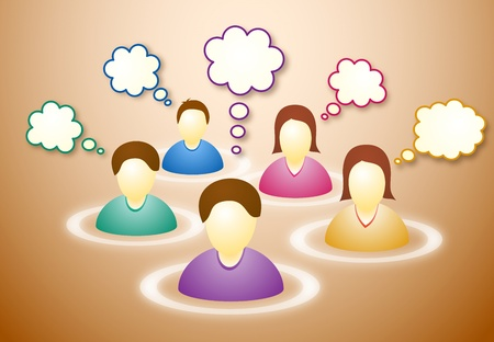 Illustration of several social network members with blank faces and text clouds Illustration