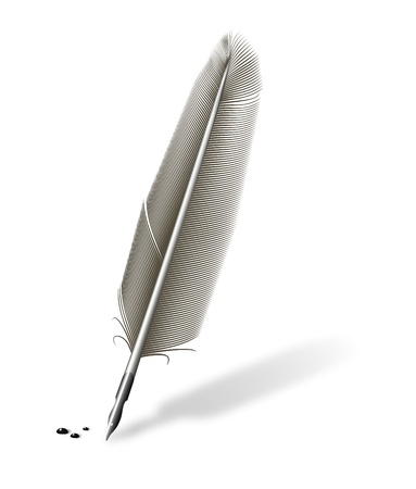 pluma de escribir antigua: Ilustraci�n de una pluma con tinta y pluma met�lica varias gotas