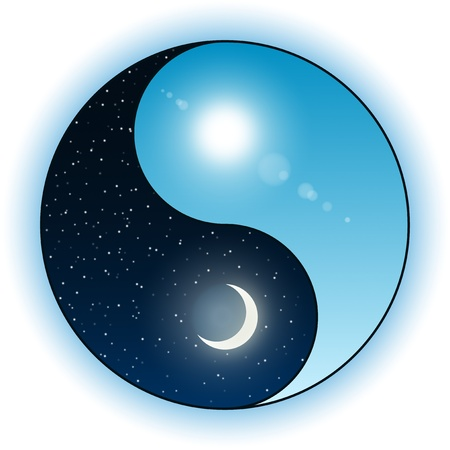 versus: Illustration of sun and moon in a Yin Yang symbol. Night versus day opposition
