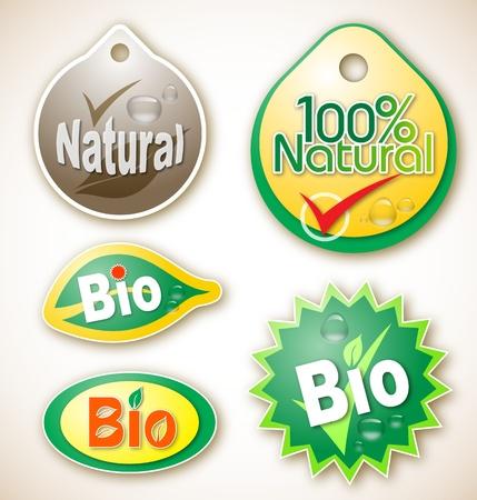 さまざまな自然とバイオ製品ラベルのイラスト