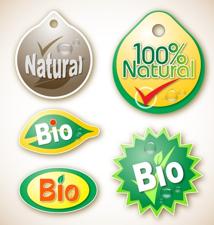 Illustration of various natural and bio product labels