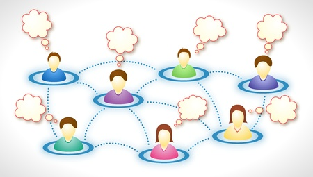 Illustration of connected social network members with blank faces and text clouds Stock Vector - 11299254