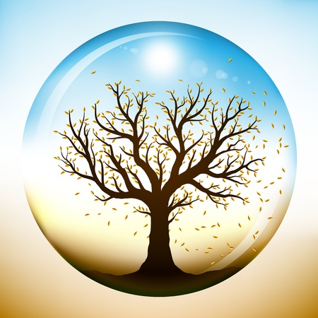 Autumn tree with falling yellow leaves, closed inside a glass sphere