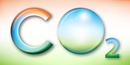 carbon emission: Illustration of carbon dioxide, sphere with sun in place of oxygen