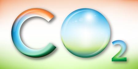 dioxido de carbono: Ilustración de dióxido de carbono, la esfera con el sol en lugar de oxígeno