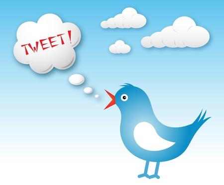 tweet: Blue bird and text cloud with tweet against blue sky