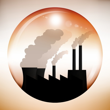pollution art: Illustration of a sphere with dark chemical factory inside. Lots of smoke pouring out of the chimneys and cooling towers