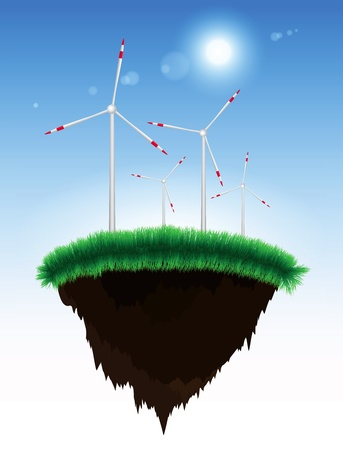 floating island: Floating island with grass and windmill power generators