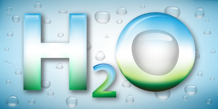 Stylized water illustration, the chemical formula and drops on background