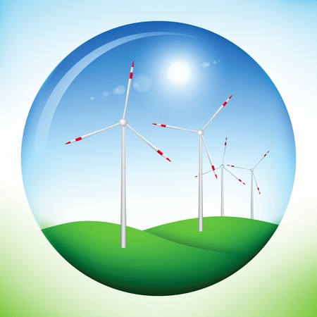 wind icon: Illustration of a sphere with land, sky, sun and windmill power generators inside
