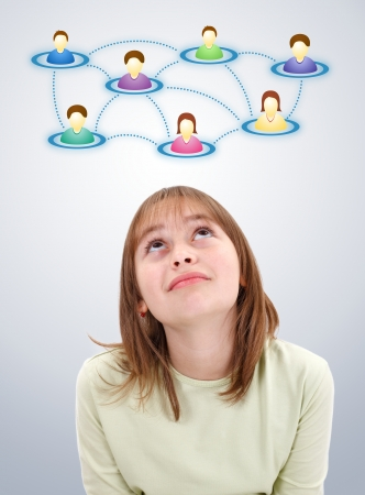 Teenager girl looking up to illustrated social network