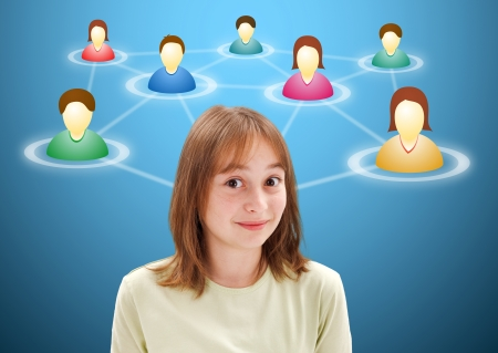 Pretty young teen girl with illustrated social network members around her head photo