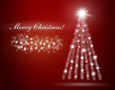 Merry Christmas illustration with blurry light glows and tree with star on top Stock Vector - 14447512