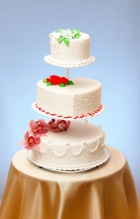 Various wedding cakes models on multi-stored stage photo
