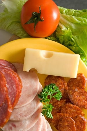 Top view of salami and sausage slices, cheese and vegetables Stock Photo - 14831716