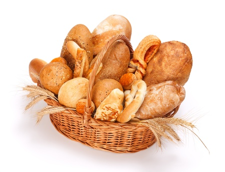 bread rolls: Fresh baked bread and pastry in basket on white background
