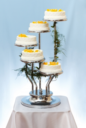 Multi-storey white wedding cake with fruits on blue background Stock Photo - 16059580