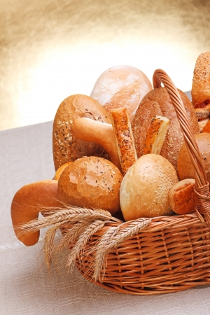 Various bakery products in basket Stock Photo - 16059607