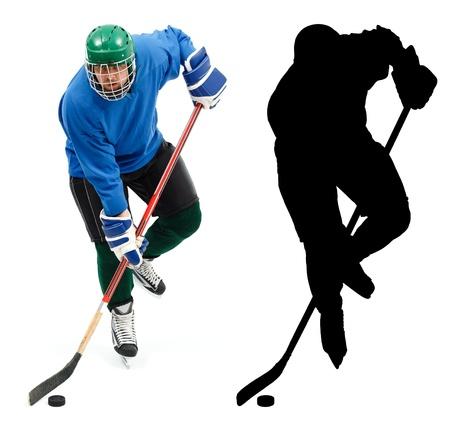 青い服やスケート高速処理パックのアイス ホッケー プレーヤー 写真素材