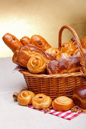 Half view of sweet bakery products in basket Stock Photo - 17688265
