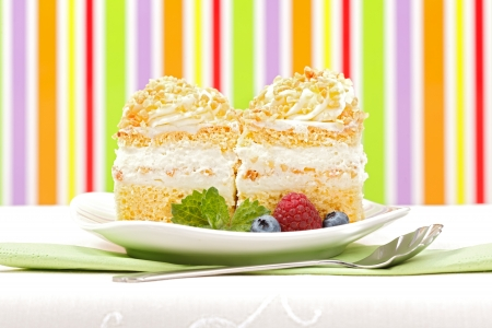 Whipped cream cake garnished with berries in front of colorful striped background Stock Photo - 17688204