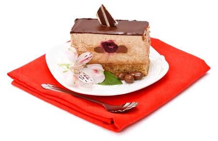 Slice of chocolate mousse cake on white background Stock Photo - 17688135