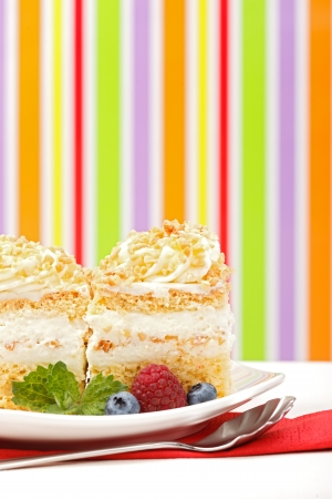 Whipped cream cake garnished with berries in front of colorful striped background - copy space on right Stock Photo - 17688208