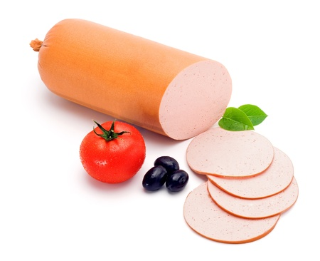 Simple bologna sausage and slices, decorated with vegetables