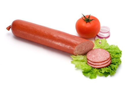Salami stick and slices with vegetables Stock Photo - 17688124