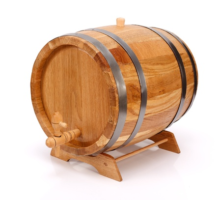 Handcrafted new oak wine barrel with metalic rings and tap on white background Stock Photo - 17688177
