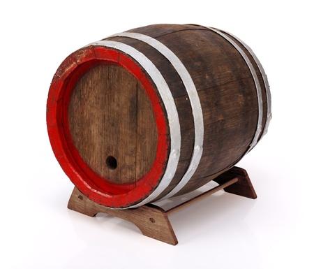 oak barrel: Old handmade oak barrel on wooden stand