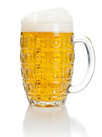 Pint of lager beer on white background Stock Photo - 17688133