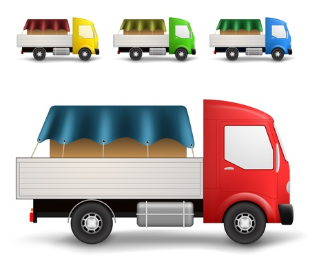 Side view of a small cargo trucks delivering covered box in various colors Stock Vector - 17688272