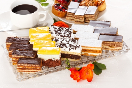 Various sweet cakes on glass plate with a cup of coffee Stock Photo - 19112011