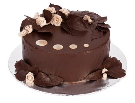 marzipan: Chocolate cake with white marzipan and chocolate covered real plants decorations on round plate