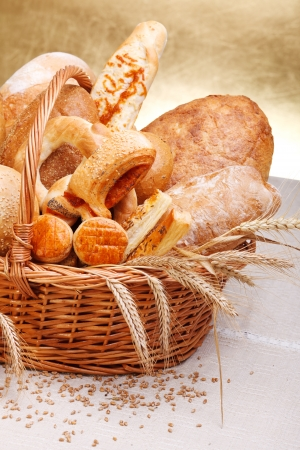 Variety of baked products in basket.