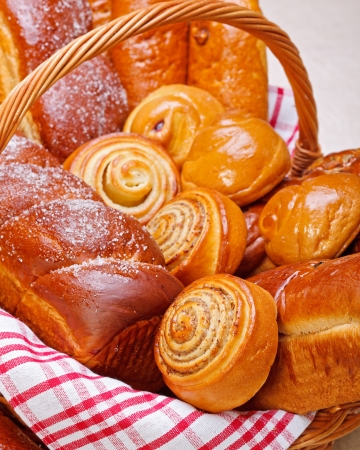 Close view of sweet bakery products in basket Stock Photo - 19112036