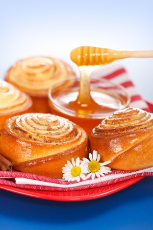 Pouring honey behind fresh cinnamon rolls, blue background Stock Photo - 19112006