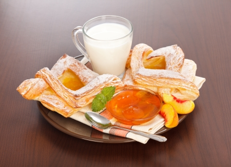 Peach cake, jam and slices with milk on plate, for breakfast Stock Photo - 19112025