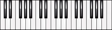 Vector illustration of a 3-octave piano keyboard Vector