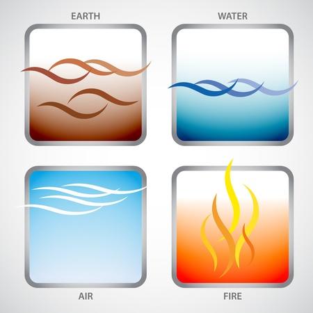 cuatro elementos: Ilustración de los cuatro elementos: tierra, agua, aire y fuego