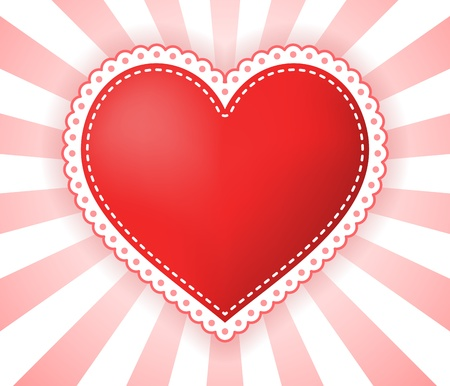 dotted lines: Heart illustration with dotted border on red-white rays background