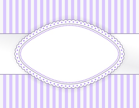 Oval purple label with dotted frame on striped background
