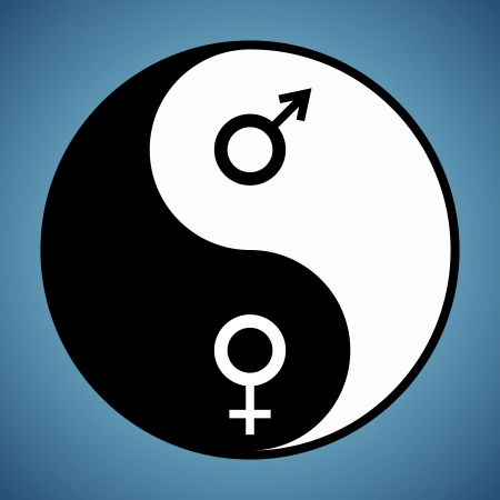 Modified yin yang symbol with male and female signs