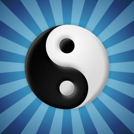 taoist: Beveled yin yang symbol on blue rays background Stock Photo