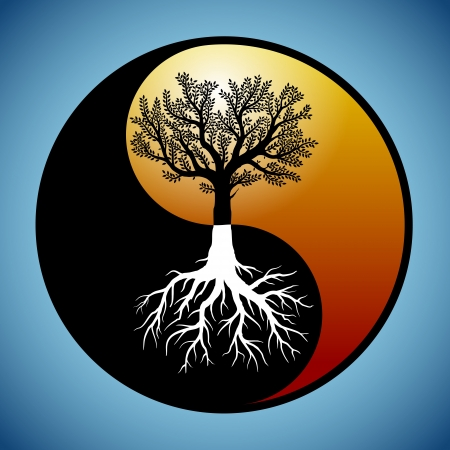 yin yang symbol: Tree and it Illustration