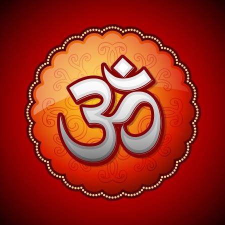 sanskrit: Om sanskrit symbol in round